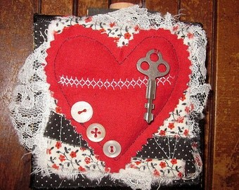 Heart Canvas Block...fabric and paper collage...locked up love