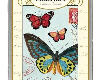 SALE Vintage Butterflies Carte Postale postcard set