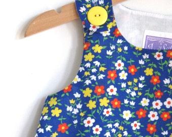 Girls Blue Floral Dress - Newborn Dress, Baby Dress, Toddler Dress,  Girls Dress , Children's Dress - Sizes Newborn to  Girls 4T