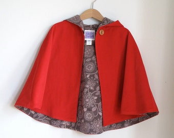 Little Red Riding Hood Cape  - Baby, Toddler or Girls Cape - Sizes 3-6 Months & 6-12 Months - cape, cloak, coat, jacket | Red Corduroy Lined