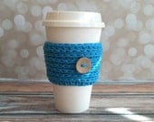 Crochet Coffee Cozy Sleeve Blue