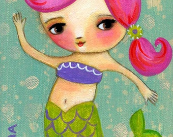 PINK Hair MERMAID cute nursery room wall art little girl painting PRINT by Tascha