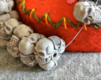 FIVE Unglazed Porcelain Skull Donut Beads