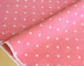 Japanese Fabric - chambray stars  - pink - 50cm