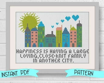 Funny Counted Cross Stitch Pattern In Another City Instant Download PDF Beginner Friendly
