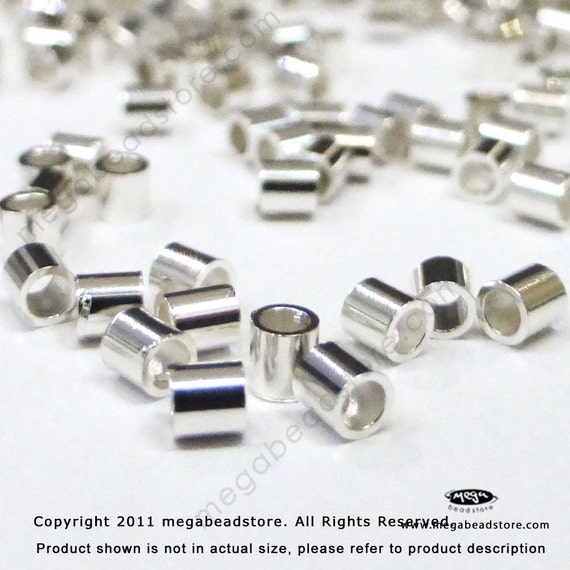 2mm Sterling Silver Crimp Beads Tube Beads F32 - 200 pcs