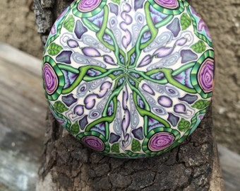 Renaissance, Celtic-style floral pendant hand made from polymer clay! One of a kind!