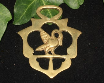 Vintage or Antique Swan Horse Brass - Folk Magic, British, Pagan, Wisdom - Rare