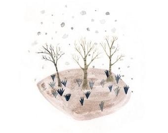 Three Trees - Mixed media illustration