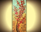 Red Cherry Blossom Tree ORIGINAL Oil Painting Modern Home Decor Thick Impasto Landscape Texture Palette Knife painting by Susanna 36x12