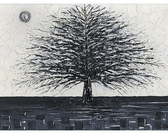 Tree Art, Black and White Fine Art Giclee PRINT on Canvas Home Decor Wall Art Large Abstract impressionist Still Life Landscape ~Susanna