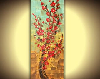 ORIGINAL Landscape Oil Painting Red Cherry Blossom Tree Home Decor Thick Impasto Texture Modern Palette Knife painting by Susanna 36x12