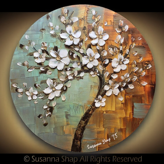 ORIGINAL tree painting landscape abstract art white cherry blossom flower textured palette knife circle canvas round wall art home decor