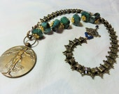 """LAST DAY 20% OFF (Code:SALE20) Huge round antique carved genuine Bronze metal """"The Angel of the Liberation"""", Lapis, Brass Necklace"""