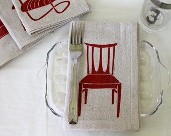 Midcentury Chairs Handmade Block Printed Napkin Set of Four
