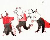 Three Bulls / Original Illustration by Emma Kidd