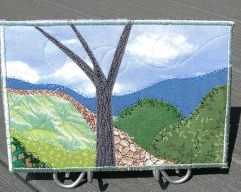 Fabric Postcard Mountain Hike Handmade Quilted Greeting Card Postcard Art Fiber Art Greeting Card Landscape Art Mountain Landscape