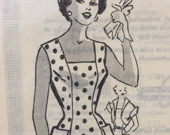 Vintage 50s Sewing Pattern Sleeveless Dress and Bolero jacket Rockabilly Retro Sundress 32 Bust Anne Adams 1953