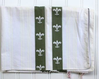 Vintage Pillow Ticks - Olive Green Fleur di lis - New Old Stock - Unused, Pair 1940s 1950s