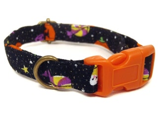 Halloween Party - Halloween Organic Cotton CAT Collar Breakaway Safety - Orange Black Pumpkins Candy Corn - All Antique Brass Hardware