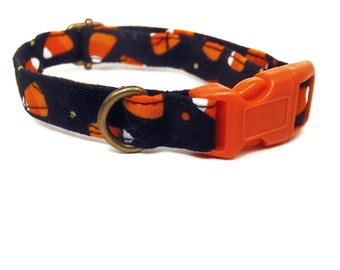 Candy Corn - Halloween Organic Cotton CAT Collar Breakaway Safety - Orange Black - All Antique Brass Hardware