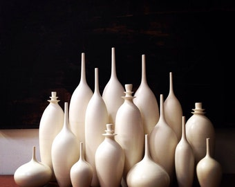 MADE TO ORDER-   One large stoneware  double flanged bottle vase in matte white by sara paloma. modern white tabletop bud vase white pottery