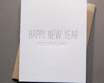 Hidden Message: New Year Damned, single letterpress card