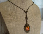 FREE SHIPPING Vintage Orange Flower Pendant Necklace Victorian Style