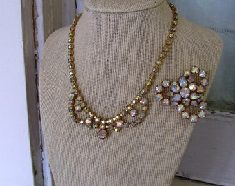 FREE SHIPPING Vintage Aurora Borealis Rhinestone Necklace and Brooch Set