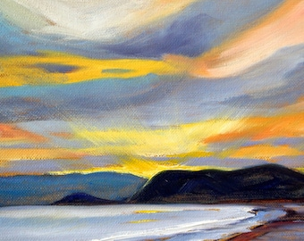 Sunset Painting, Original Seascape, Oil Painting, 8x10 Canvas, Blue Gray Orange, Puget Sound, Pacific Northwest, Sky, West Coast, Small