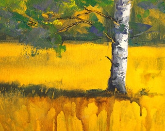 Original Landscape Tree Painting, Birch Field, Small 8x10 Canvas, Autumn Fall, Acrylic, Yellow Prairie Meadow, Gold, Green, Blue, Abstract