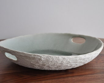 Gray Serving Platter  - Large Ceramic Serving Bowl Ceramic serving platter