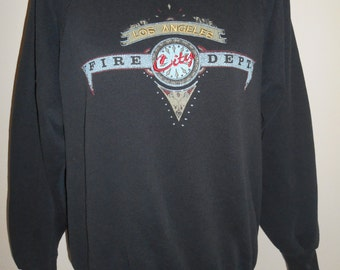 Vintage 80s 90s black  Los Angeles City Fire Department   California  USA     sweatshirt sweat shirt    pullover