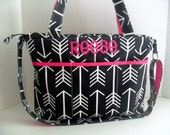 Large Diaper Bag - Black  Arrow - Zipper Closure - Messenger - Tote Bag - Arrow Diaper Bag