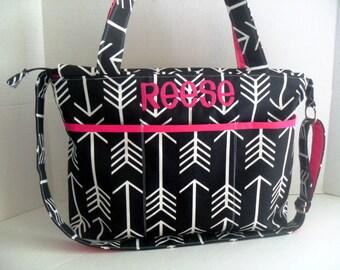 Large Diaper Bag - Black  Arrow - Zipper Closure - Messenger - Tote Bag - Arrow Diaper Bag