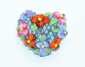 Lampwork Focal Heart Lattice Bead with Coral Pink Purple Flowers Green Leaves Yellow Centers on an Aqua Base SRA