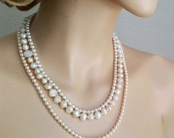 Pearl Bridal Necklace, Wedding Pearl Necklace, Bridal Statement Necklace, Natural Pearl, Freshwater, Wedding Jewelry, Ivory Blush for Brides