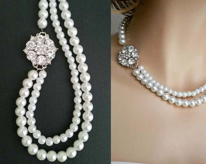 Pearl and Crystal Necklace  in Art Deco StyleCHLOE