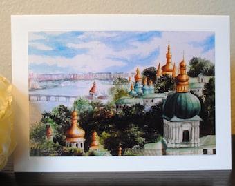 Kiev Pechersk Lavra, Ukraine Watercolor Print Notecard