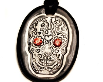Day of the Dead Skull  Necklace with Swarovski Crystals Eyes