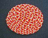 Dollhouse Miniature Oval Braided Rug (Red, White and Gold)