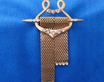 Antique Brooch, Victorian Lapel Pin, Gold Wash, Mesh, Rhinestones, ca 1890-1900 NT-1438