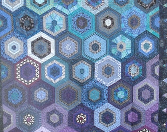 Twin Sized Quilt in Hexagons of Purple Blue and Teal