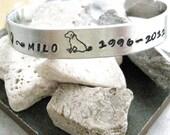 Pet Remembrance Bracelet, Pet Memorial Bracelet, Dog Memorial, Cat Memorial, 3/8 inch wide aluminum cuff, customizable, loss of pet