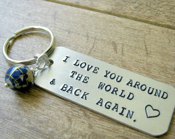 I Love You Around the World and Back Again Keychain, gemstone inlay globe bead, personalize the back with up to 15 characters K-ALB