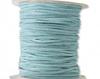 Faux Suede Leather Cord Lace Turquoise Green Soft Cotton 3mm wide for necklaces and bracelets, 10 or 25 ft.