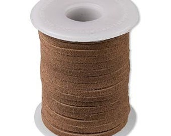 Genuine Suede Leather Cord Lace Medium Brown 3mm wide for necklaces and bracelets, 10 or 25 ft.