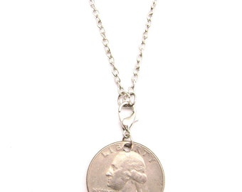 Chain Necklace Handmade USA Quarter Coin 25 Cents G. Washington Pendant ALL SIZES, pack of 5.