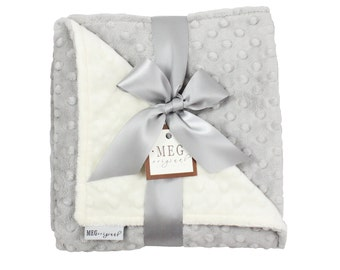 Vanilla Cream & Silver Gray Minky Dot Baby Blanket, Boy/Girl/Unisex/Gender Neutral, 973
