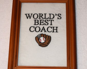 World's Best Coach Embroidered Picture Frame with Glass - Ready to Ship